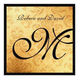 Vintage Gold Elegant Monogram Wedding Invites