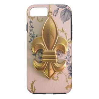 Vintage gold fleur de lis blue damask iPhone 8/7 case