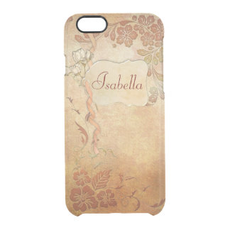 Vintage Gold Floral Personalized Clear iPhone 6/6S Case