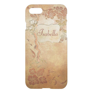 Vintage Gold Floral Personalized iPhone 7 Case