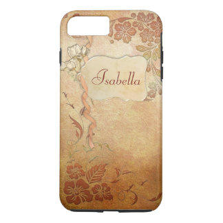 Vintage Gold Floral Personalized iPhone 7 Plus Case