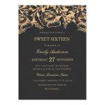 Vintage Gold Floral Sweet Sixteen Invitation