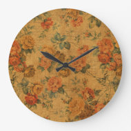 Vintage Gold Floral Wall Clock