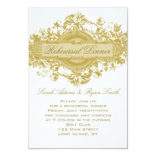 VINTAGE GOLD FLORAL WEDDING REHEARSAL DINNER CARD