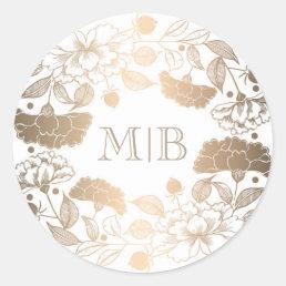 Vintage Gold Floral Wreath Elegant Wedding Classic Round Sticker