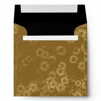 Vintage Gold Flowers Square Envelope envelope