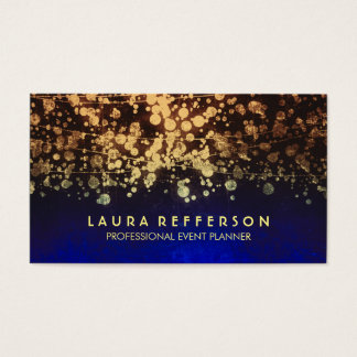 vintage gold foil confetti blue business card