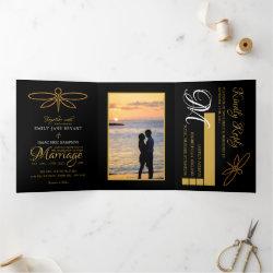 Vintage Gold Foil Dragonfly Wedding Suite Tri-Fold Invitation