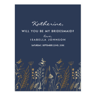 Vintage Gold Foil Navy Will You Be My Bridesmaid? Postcard