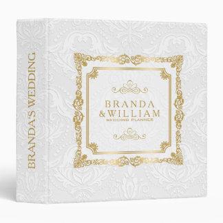 Vintage Gold Frame & Embossed Satin White Damasks 3 Ring Binder