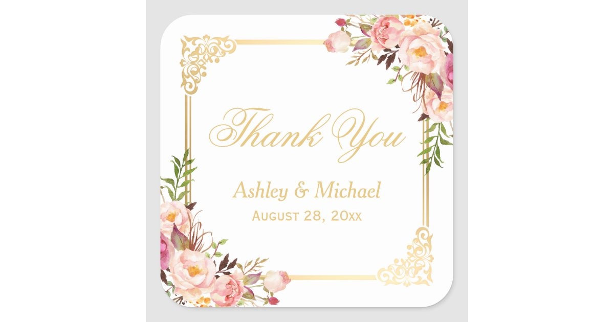 Vintage Gold Frame Fl Thank You Wedding Favor Square Sticker