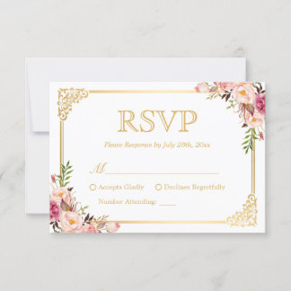 Vintage Gold Frame Pink Floral Wedding RSVP Reply