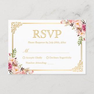 Vintage Gold Frame Pink Floral Wedding RSVP Reply