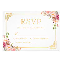 Vintage Gold Frame Pink Floral Wedding RSVP Reply Card