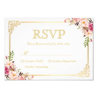 Vintage Gold Frame Pink Floral Wedding RSVP Reply Card