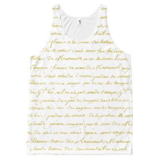 Vintage Gold French Handwriting All-Over Print Tank Top