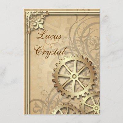 Vintage Gold Gears Steampunk Wedding Invitation