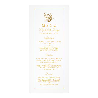 Vintage Gold Glitter Butterfly Wedding Menu