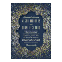 Vintage Gold Glitter Confetti Navy Wedding Card