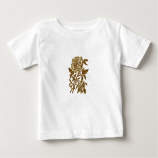Vintage gold glitter effect roses pattern baby T-Shirt