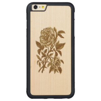 Vintage gold glitter effect roses pattern carved maple iPhone 6 plus bumper case