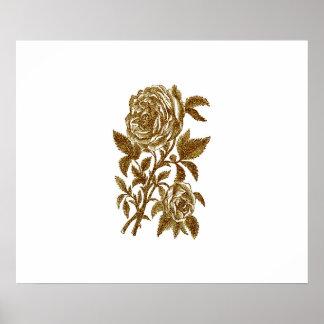 Vintage gold glitter effect roses pattern poster