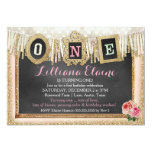Vintage Gold Glitter First Birthday Banner 5x7 Paper Invitation Card