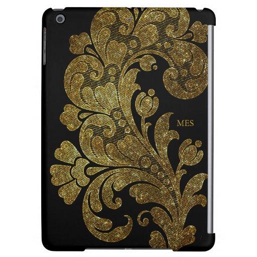 Vintage Gold Glitter Lace Floral Design & Monogram Case For iPad Air