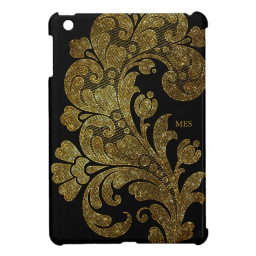 Vintage Gold Glitter Lace Floral Design & Monogram Case For The iPad Mini
