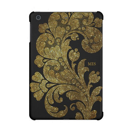Vintage Gold Glitter Lace Floral Design & Monogram iPad Mini Case
