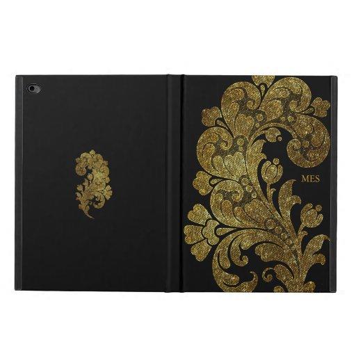 Vintage Gold Glitter Lace Floral Design & Monogram Powis iPad Air 2 Case