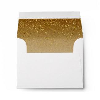 Vintage Gold Glitter White Elegant Wedding RSVP Envelope