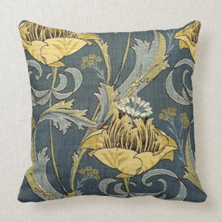 Vintage Gold & Grey Floral Throw Pillow