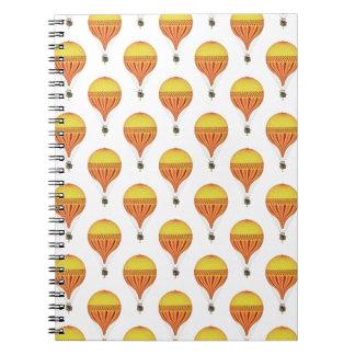 Vintage Gold, Hot Pink, Fuchsia Hot Air Balloons Spiral Notebook