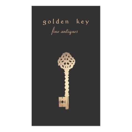 Vintage Gold Key Antique Dealer Business Card Template