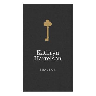 Vintage Gold Key Real Estate Interior Designer I Double-Sided Standard Business Cards (Pack Of 100)