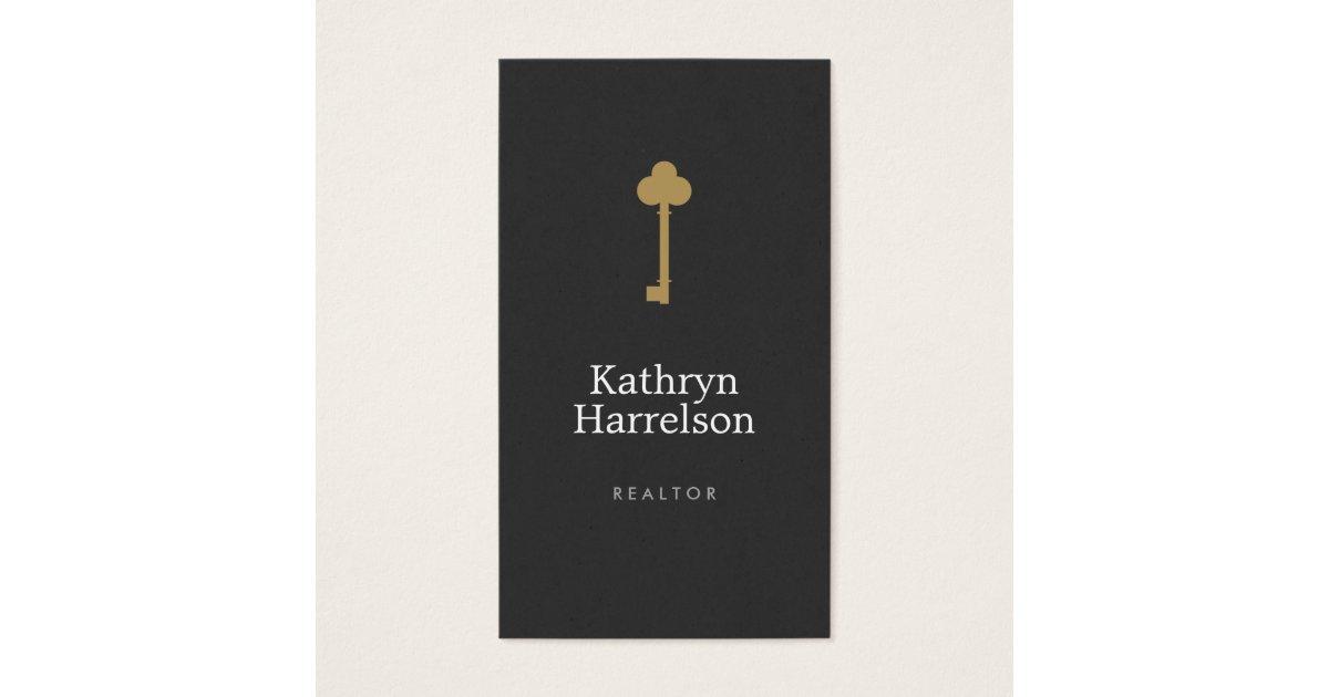 Vintage Gold Key Real Estate Interior Designer I Business Card Zazzle