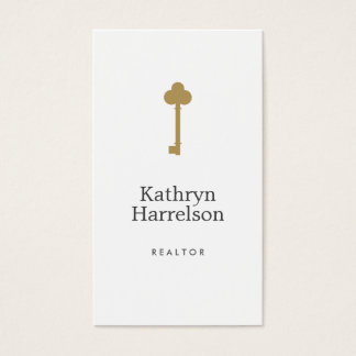 Vintage Gold Key Real Estate Interior Designer II Business Card