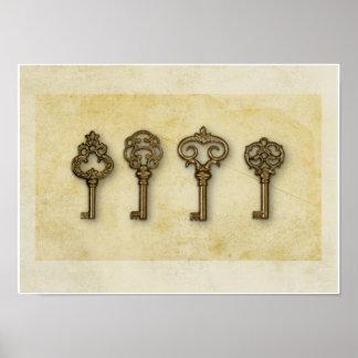Vintage Gold Keys Poster
