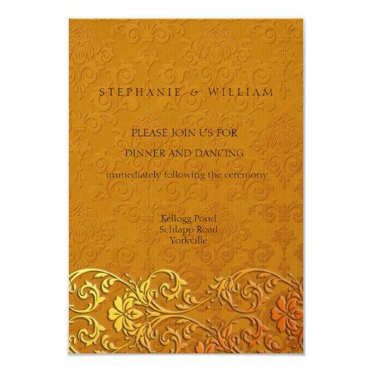 Vintage Gold Lace Wedding Reception Card