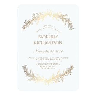 Vintage Gold Laurel Wreath Birthday Party Card