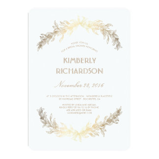 Vintage Gold Laurel Wreath Bridal Shower Card