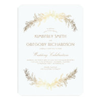 Vintage Gold Laurel Wreath Elegant Wedding Card