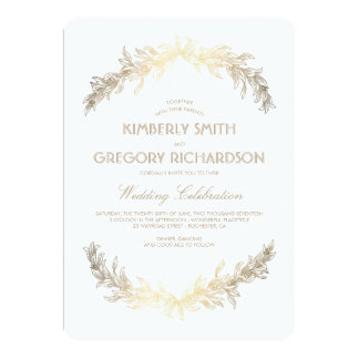Vintage Gold Laurel Wreath Elegant Wedding Card