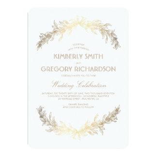 Vintage Gold Laurel Wreath Elegant Wedding Invitation