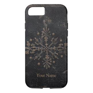 Vintage Gold Leaf Ornate Design on Worn Leather iPhone 7 Case