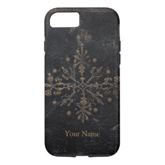 Vintage Gold Leaf Ornate Design on Worn Leather iPhone 8/7 Case