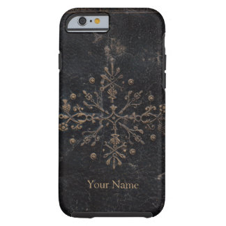 Vintage Gold Leaf Ornate Design on Worn Leather Tough iPhone 6 Case