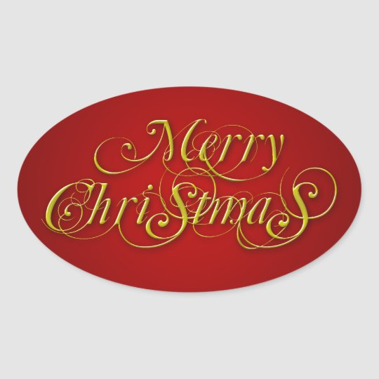 Vintage Gold Merry Christmas Sticker