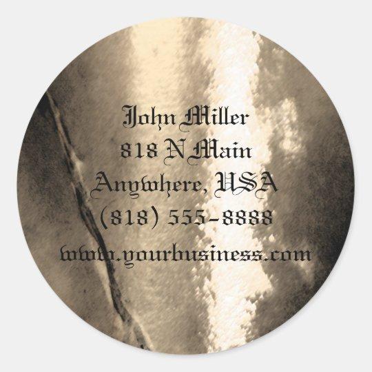 Vintage Gold Metal & Stone Business Sticker